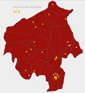 Locations of the 33 ePHC clinics on the Oyo Sttate Map.